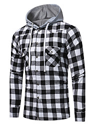 cheap -Men's Daily Going out Active / Street chic Cotton Shirt - Plaid Print Hooded Black / Long Sleeve / Fall / Winter