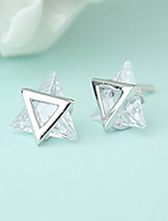 cheap -Women's AAA Cubic Zirconia Stud Earrings Star of David Ladies Personalized Fashion Stainless Steel Cubic Zirconia Earrings Jewelry Silver For Gift Casual