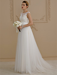 cheap -A-Line Jewel Neck Sweep / Brush Train Beaded Lace Cap Sleeve Wedding Dress in Color / See-Through Made-To-Measure Wedding Dresses with Appliques / Sash / Ribbon / Button 2020