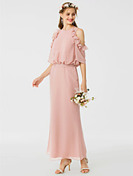 cheap -Sheath / Column Jewel Neck Ankle Length Chiffon Bridesmaid Dress with Sash / Ribbon / Ruffles