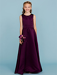 cheap -A-Line Jewel Neck Floor Length Satin Junior Bridesmaid Dress with Sash / Ribbon / Wedding Party / Open Back