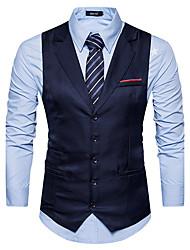 cheap -Men's Daily Fall / Winter Regular Vest, Solid Colored Notch Lapel Sleeveless Polyester Black / Navy Blue / Khaki / Slim