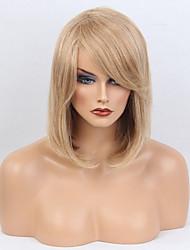 Недорогие -Человеческие волосы Парик Средние Прямой Прямой силуэт Боковая часть Машинное плетение Жен. Medium Auburn / Bleach Blonde