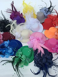 cheap -Tulle / Feather Fascinators / Flowers / Hats with Floral 1pc Wedding / Special Occasion / Party / Evening Headpiece