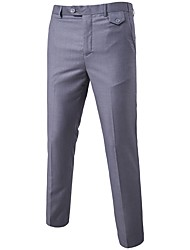cheap -Men's Work Dress Pants Business Pants - Solid Colored Formal Style Spring Fall Wine Black Purple S / M / L