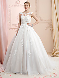 cheap -Ball Gown Wedding Dresses Bateau Neck Court Train Lace Organza Cap Sleeve Country Romantic Sexy Illusion Detail Plus Size Backless with Appliques 2021
