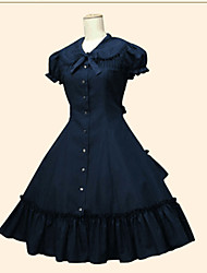 cheap -Princess Gothic Lolita Dress Women's Girls' Cotton Japanese Cosplay Costumes Plus Size Customized White / Black / Beige Ball Gown Solid Color Short Sleeve Tea Length / Tuxedo