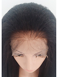 cheap -Human Hair Glueless Lace Front Lace Front Wig style Brazilian Hair kinky Straight Wig 130% Density with Baby Hair African American Wig 100% Hand Tied Women's Medium Length Human Hair Lace Wig