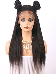 cheap -Human Hair Glueless Lace Front Lace Front Wig style Brazilian Hair Straight Yaki Wig 150% Density with Baby Hair Natural Hairline Women's Long Human Hair Lace Wig ELVA HAIR
