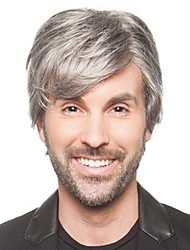 cheap -Synthetic Wig Straight Straight Wig Short Grey Synthetic Hair Men's Gray StrongBeauty