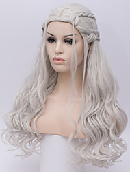 cheap -Cosplay Costume Wig Synthetic Wig Cosplay Wig Deep Wave Kardashian Deep Wave Wig Long Silver Synthetic Hair Women's White