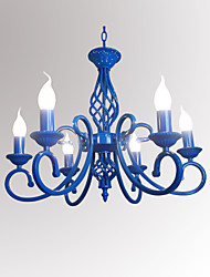 cheap -6-Light 54 cm Candle Style Chandelier Metal Candle-style Painted Finishes Chic & Modern 110-120V / 220-240V