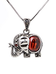 cheap -Women's Synthetic Ruby Pendant Necklace Chain Necklace Elephant Animal Fashion Sterling Silver Silver Necklace Jewelry For Gift Daily