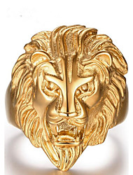 cheap -Men's Band Ring Gold Stainless Steel Bohemian Hip Hop Party Daily Jewelry Lion