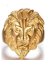 Недорогие -Муж. Кольцо Золотой Нержавеющая сталь Богемные Хип-хоп Для вечеринок Повседневные Бижутерия Лев