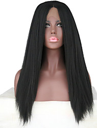 cheap -Synthetic Lace Front Wig Yaki Yaki Lace Front Wig Long Black#1B Synthetic Hair Women's Natural Hairline Middle Part Black