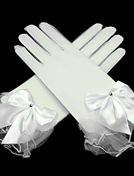 cheap -Net Wrist Length Glove Transparent / Bridal Gloves / Party / Evening Gloves With Rhinestone / Bowknot / Ruffles