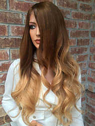 cheap -Human Hair Glueless Lace Front Lace Front Wig Layered Haircut with Baby Hair style Brazilian Hair Kinky Curly Wig 130% Density Ombre Hair Natural Hairline African American Wig 100% Virgin 100% Hand