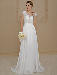 cheap -A-Line Bateau Neck Sweep / Brush Train Chiffon / Lace Cap Sleeve Open Back / See-Through Made-To-Measure Wedding Dresses with Appliques 2020