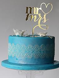 Недорогие -Украшения для торта Монограмма пластик Свадьба / Для вечеринок с 1 pcs Пластмассовая сумка