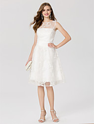 cheap -A-Line Elegant Cocktail Party Prom Dress Jewel Neck Sleeveless Knee Length Lace with Sash / Ribbon 2020