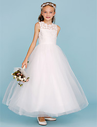 cheap -A-Line / Princess Crew Neck Ankle Length Lace / Tulle Junior Bridesmaid Dress with Sash / Ribbon / Wedding Party