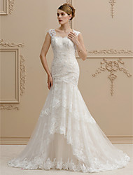 cheap -Mermaid / Trumpet Wedding Dresses Square Neck Court Train Lace Over Tulle Regular Straps Wedding Dress in Color Floral Lace See-Through with Buttons Sequin Appliques 2020 / Beautiful Back