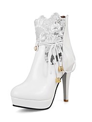 cheap -Women's Boots Stiletto Heel Pointed Toe Pearl / Zipper / Lace-up Lace / Leatherette Booties / Ankle Boots Ankle Strap / Fashion Boots Spring / Fall Black / White / Wedding