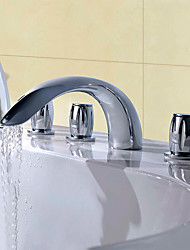cheap -Bathtub Faucet - Contemporary Modern Style Chrome Widespread Brass Valve