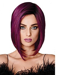 cheap -Synthetic Wig Straight Straight Bob Wig Medium Length Black / Purple Synthetic Hair Women's 100% kanekalon hair Purple StrongBeauty