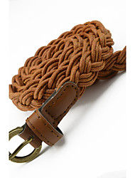 cheap -Women's Braided Imitation Leather Belt with Gold Buckle - 3D Vintage Style