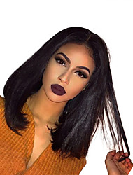 cheap -Human Hair Glueless Lace Front / Lace Front Wig Indian Hair Straight Wig Bob Haircut 130% Natural Hairline / For Black Women Women's Short Human Hair Lace Wig