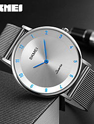 cheap -SKMEI Men's Wrist Watch Quartz Stainless Steel Silver 30 m Water Resistant / Waterproof Cool Analog Charm Luxury Classic Casual Fashion - Red Blue White / Silver Two Years Battery Life