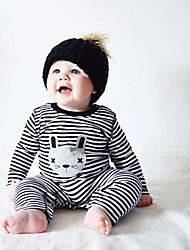 cheap -Baby Girls' Stripes Solid Color / Stripes Long Sleeve Cotton Overall & Jumpsuit Black