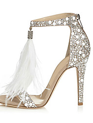 cheap -Women's Sandals Stiletto Heel Open Toe Rhinestone / Zipper / Tassel PU(Polyurethane) Comfort / Novelty Spring / Fall Almond / Wedding / Party & Evening / Party & Evening / EU41