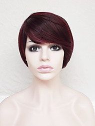 cheap -Synthetic Wig Straight Straight Asymmetrical Short Bob With Bangs Wig Burgundy Short Dark Red Synthetic Hair Women's Natural Hairline Burgundy