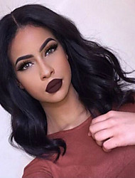 cheap -Human Hair Glueless Full Lace Full Lace Lace Front Wig Bob Layered Haircut Middle Part style Brazilian Hair Body Wave Wig 130% Density with Baby Hair Natural Hairline African American Wig 100% Virgin