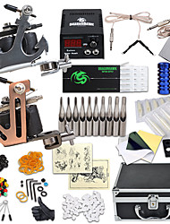 cheap -Tattoo Machine Professional Tattoo Kit 2 steel machine liner & shader High Quality LCD power supply 4 x aluminum grip 30pcs Classic Daily
