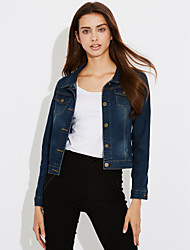 cheap -Women's Daily / Work / Beach Street chic Spring Short Denim Jacket, Solid Colored Square Neck Long Sleeve Others Blue XL / XXL / XXXL
