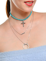 cheap -Women's Turquoise Pendant Necklace Chain Necklace Layered Cross Moon Cross Multi Layer Turquoise Alloy Silver Necklace Jewelry For Party Daily