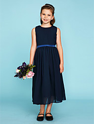 cheap -A-Line / Princess Crew Neck Tea Length Chiffon Junior Bridesmaid Dress with Draping / Sash / Ribbon / Wedding Party
