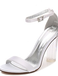 cheap -Women's Wedding Shoes Chunky Heel Round Toe Rhinestone / Sparkling Glitter / Lace-up Satin T-Strap / Basic Pump / Ankle Strap Spring / Summer Black / White / Purple / Party & Evening