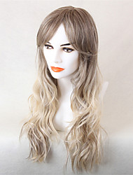 cheap -Human Hair Blend Wig Long Wavy Short Hairstyles 2020 Wavy Ombre Ombre Hair Machine Made Women's Honey Blonde#24 Medium Brown / Strawberry Blonde