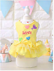 cheap -Dog Dress Dog Clothes Yellow Pink Costume Cotton Princess Casual / Daily XS S M L XL