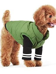 cheap -Dog Vest Winter Dog Clothes Warm Green Jade Blue Costume Cotton Solid Colored Casual / Daily S M L XL XXL