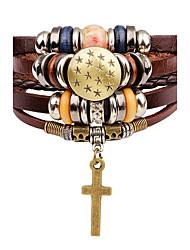 cheap -Women's Leather Bracelet Cross Star Ladies Fashion Leather Bracelet Jewelry Brown For Stage Street