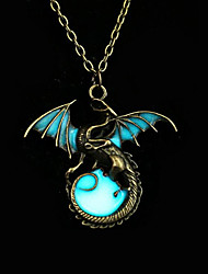 cheap -Women's Luminous Stone Pendant Necklace Dragon Wings Animal Magic Ladies Vintage Punk Rock Bronze Luminous Stone Alloy Silver Bronze Golden Necklace Jewelry For Party Halloween Daily Casual Club