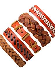 Недорогие -Муж. Wrap Браслеты Кожаные браслеты Камни Мода Кожа Браслет Ювелирные изделия Оранжевый Назначение Halloween На выход