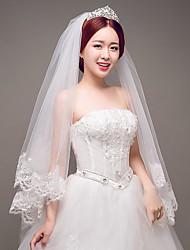cheap -One-tier Lace Applique Edge Wedding Veil Elbow Veils with Appliques Tulle / Classic