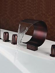 cheap -Bathtub Faucet - Contemporary Modern Style Oil-rubbed Bronze Widespread Brass Valve